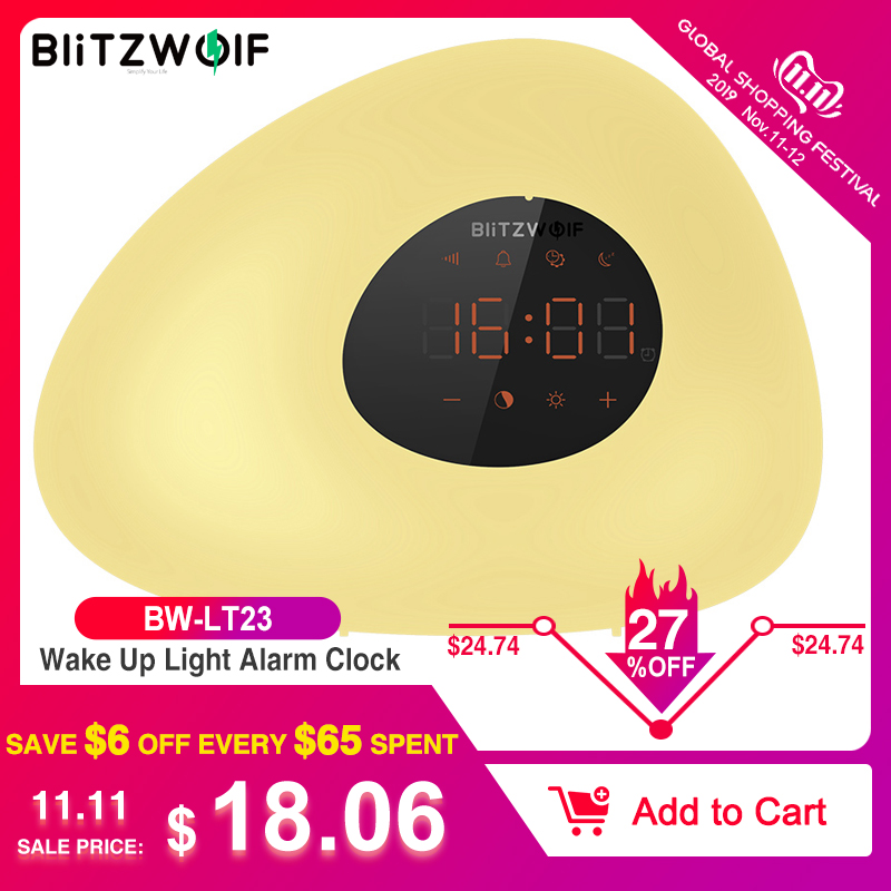 BlitzWolf BW-LT23 Smart Home Wake Up Light Alarm Clock With Sunrise & Sunset Mode Touching Control RGB 3000K Dimmable Night Lamp