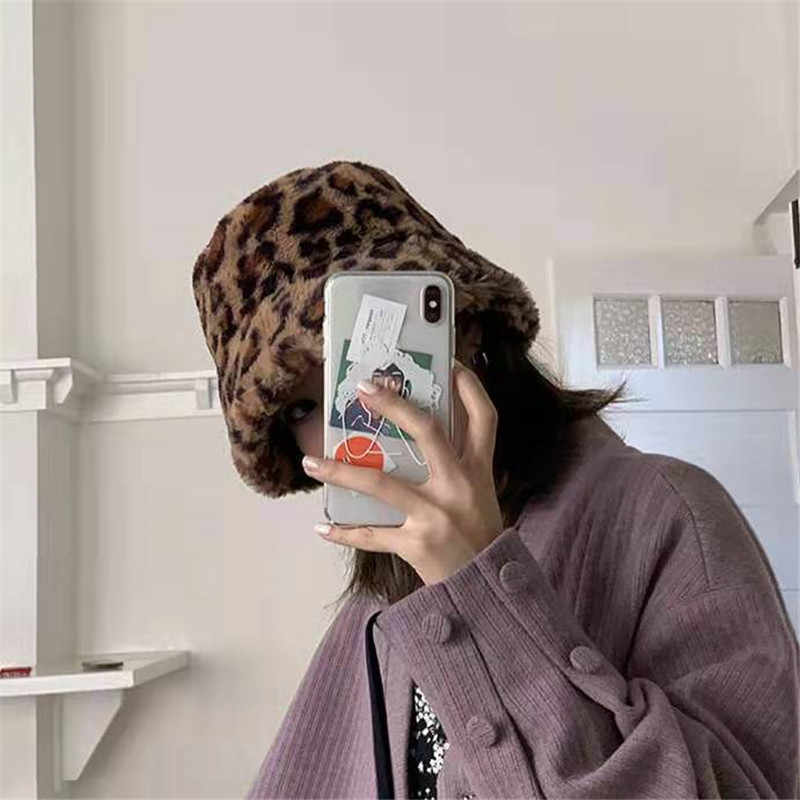 2019 كوريا الخريف الشتاء vintage ليوبارد غطاء دلو أفخم اليابانية الحلو و جميل صياد قبعة دافئة مبطن حوض قبعة 56-58 سنتيمتر