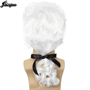 Image 4 - Ebingoo White Lawyer Judge Wig Baroque Curly Male Colonial Deluxe Historical Costume Synthetic Cosplay Wig for Halloween Cosplay