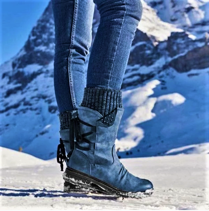 Lowest Price with Best Quality and Free Gift - Women Boots winter autumn girls Flat Heel Boot Fashion Knitting Patchwork shoes 2