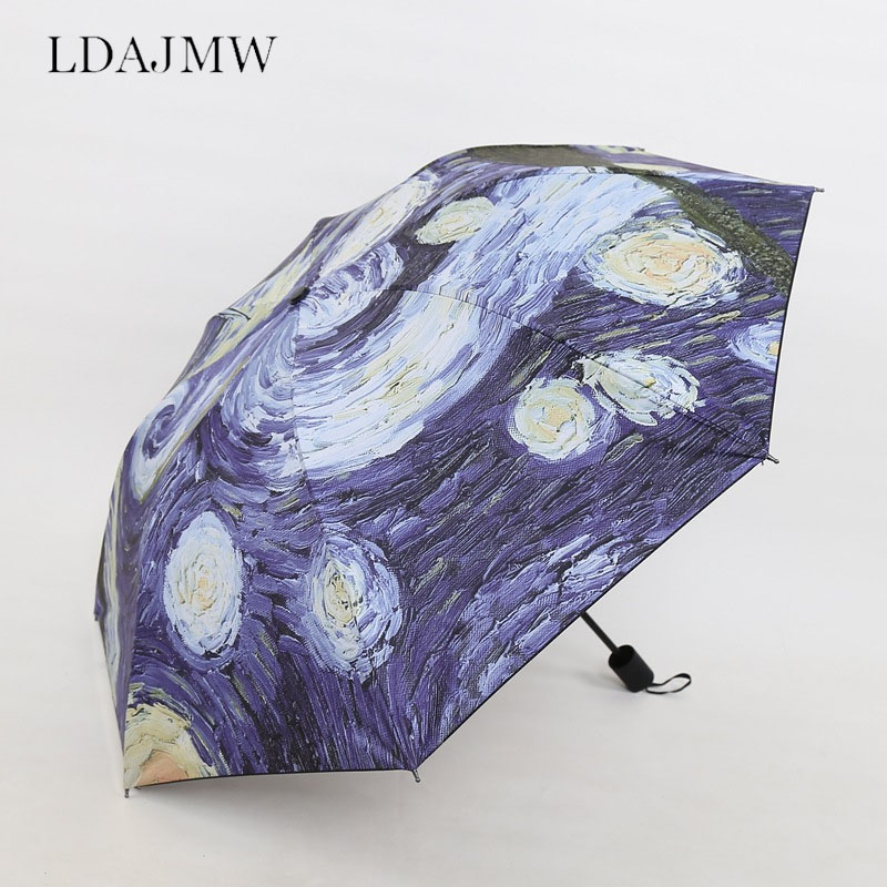 Creative Van Gogh Oil Painting Umbrella Vinyl Anti-UV Outdoor Tri-fold Unisex Sun Umbrella Rain Gear