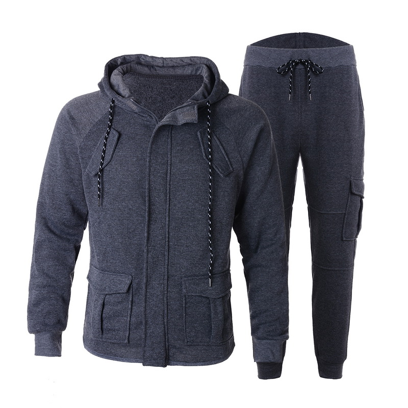 Men's Outdoor Outwear Suit Drawstring Solid Color Set Loose Hooded Casual Set Hoodies Mens Hoodies