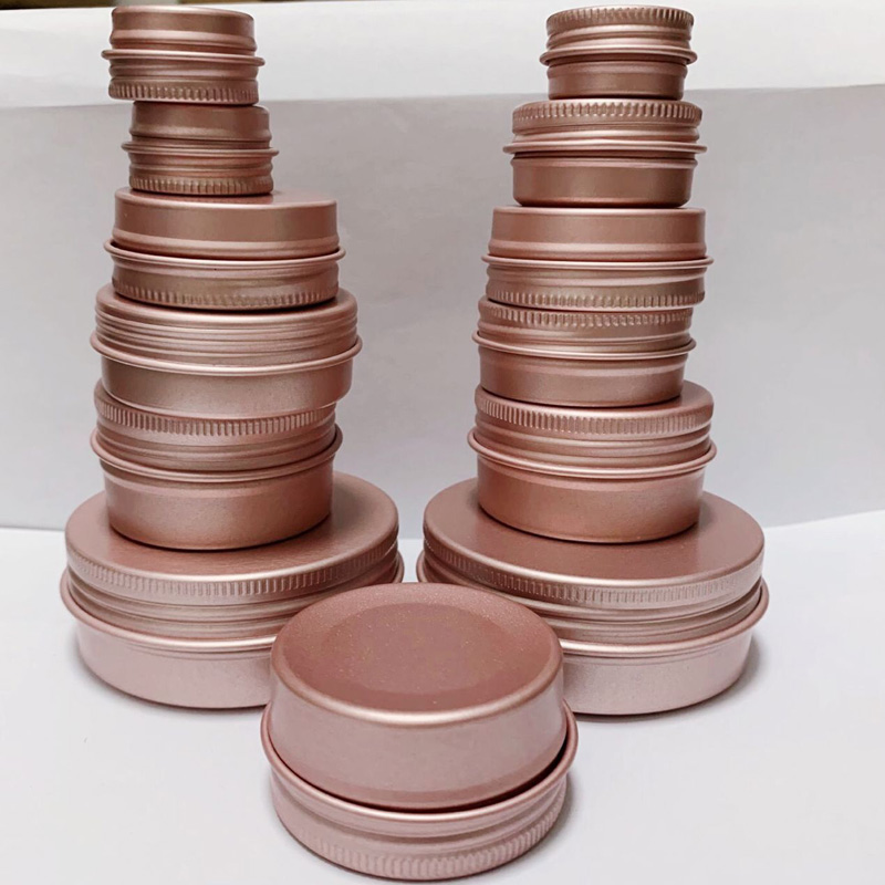 100 X 5ml 10ml 15ml 30ml 60ml Matte Rose Gold DIY Aluminum Jar Ointment Candle Craft Metal Tin Case For Lip Balm Cosmetic Makeup