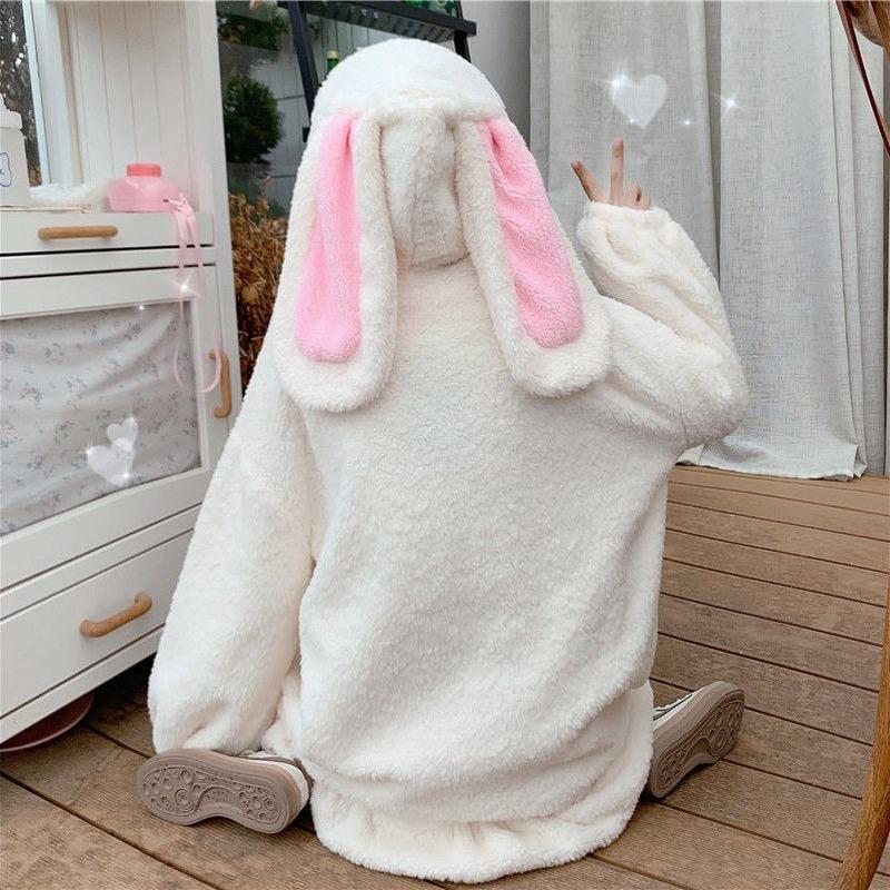 Deeptown Kawaii Hoodies Women Winter Plus Size Fashion Bunny Ears Sweatshirt Women Long Sleeve Cute Tops Warm Zip Up Hoodies