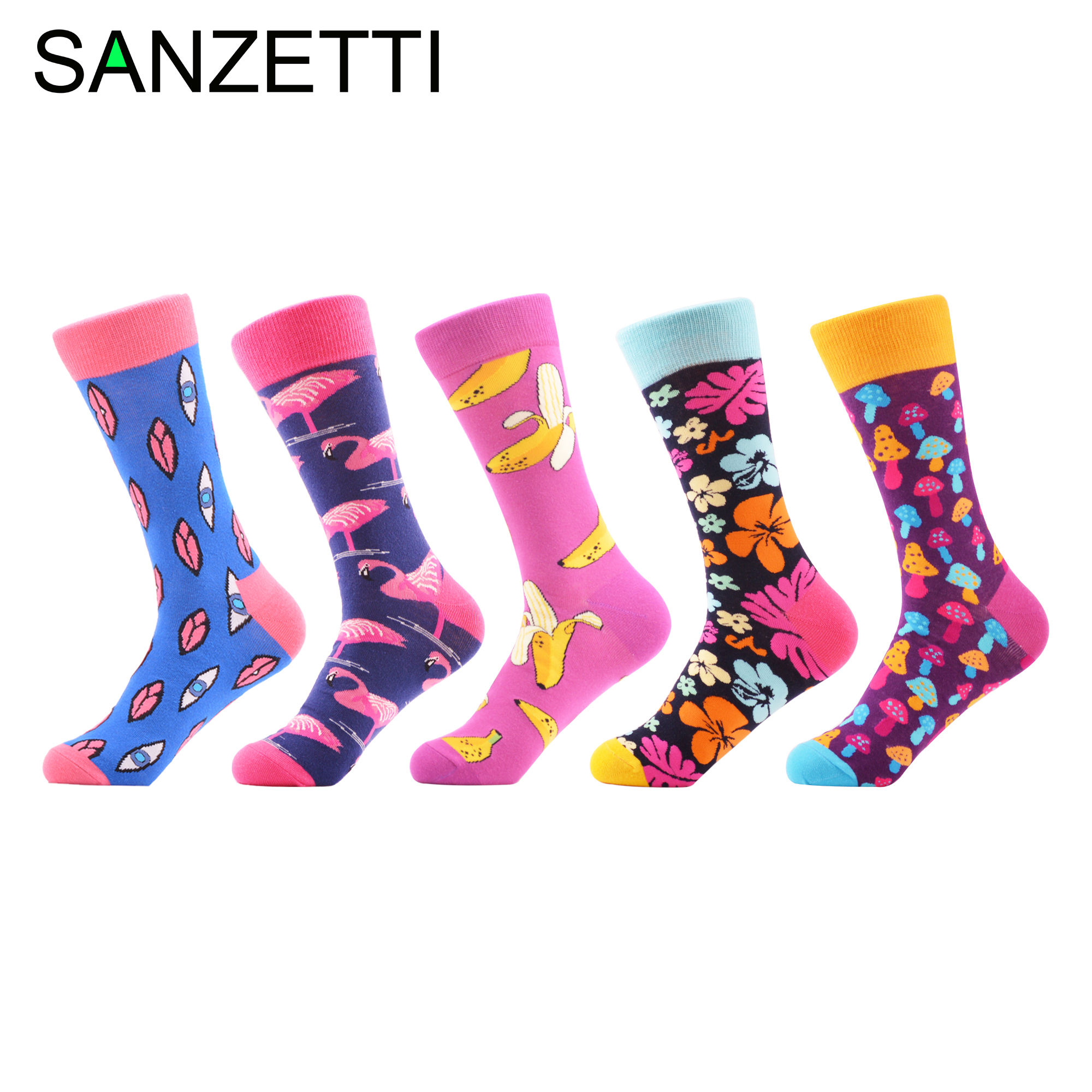 SANZETTI 5 Pairs/lot Colorful Men's Personality Socks Hipter Design Combed Cotton Dress Wedding Socks Casual Crew Party Socks