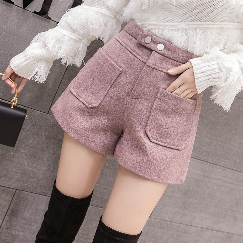 Woolen Shorts 2019 New Autumn High Waist Wide Leg Shorts Winter Casual Pockets Wool Shorts Ladies Boots Shorts