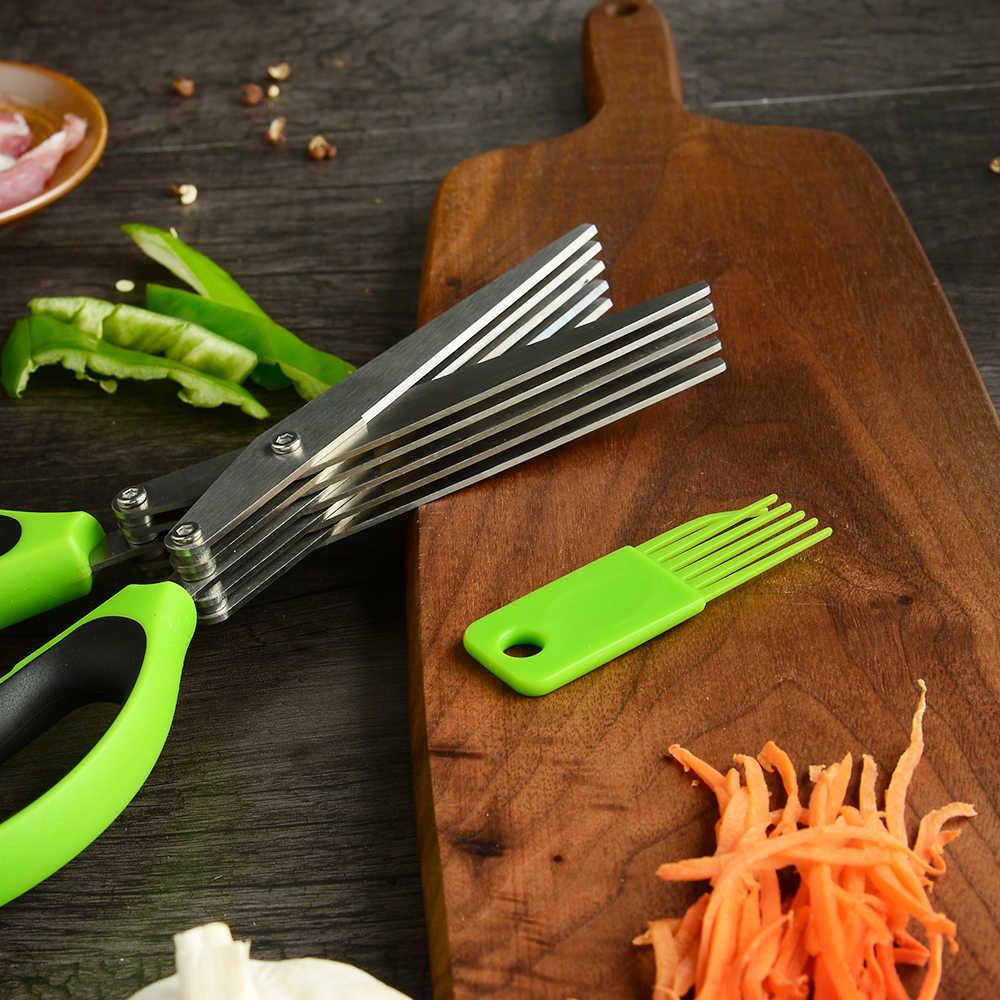 المطبخ عشب مقص الثقيلة القاطع 5 شفرة مقصات مطبخ الفولاذ المقاوم للصدأ مقص تمزيقه المفروم مع تنظيف مشط
