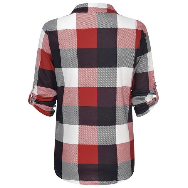 Women Tops and Blouses Plus Size Autumn Women's Plaid Blouse Shirts Sexy V Neck female blouses  Lady Business Blouse 4