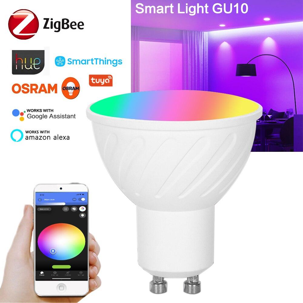Zigbee 3.0 GU10 5W RGBCW Smart LED Lamp Spotlight Light Bulb Work With Smart Life Alexa Home Assistant Smartthings