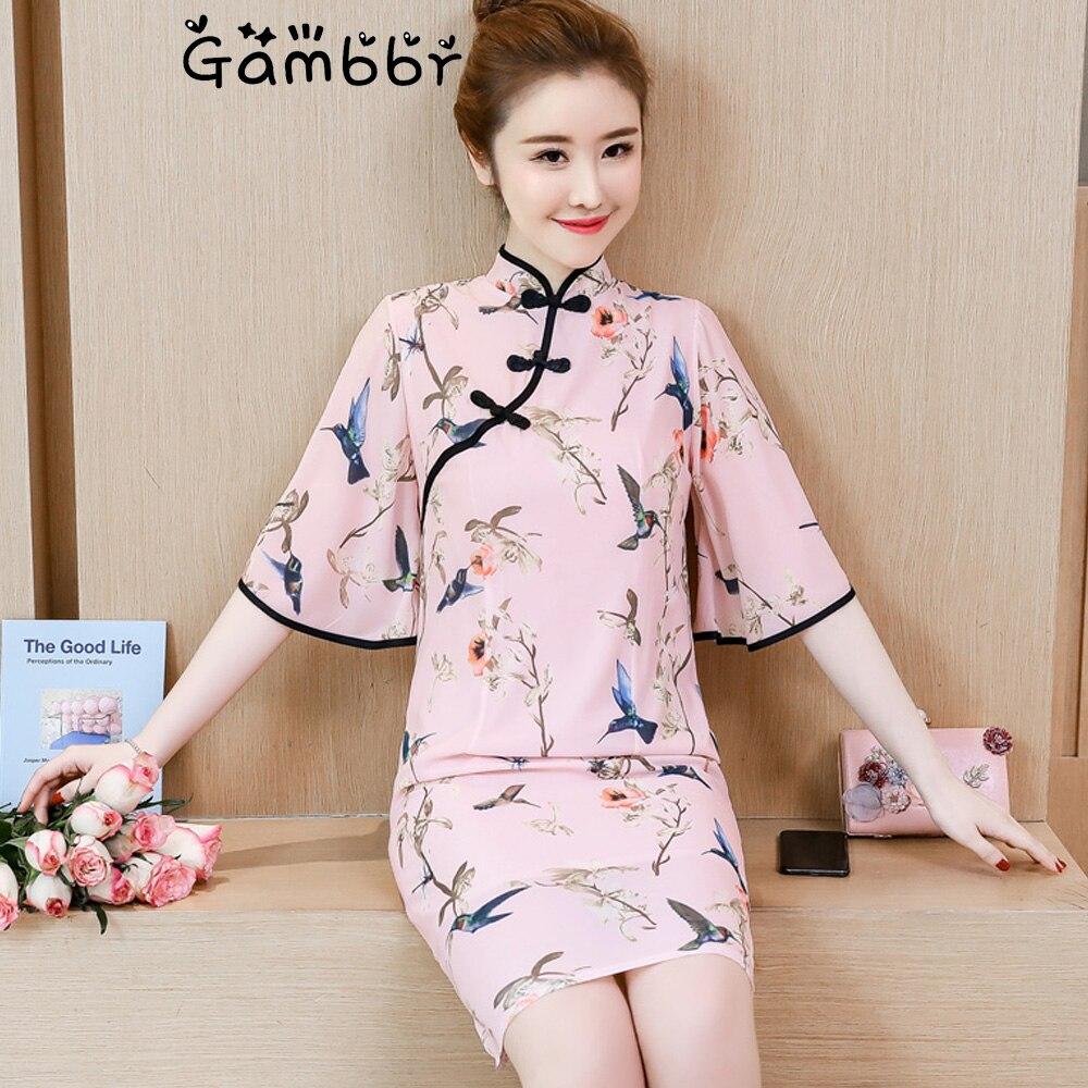 2019 Summer Chinese Style Cheongsams Dress Flare Sleeve Elegant Vintage Printed Daily Improve Qipao Bodycon Girl Fashion Dress