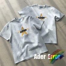 Camiseta gris de ADER ERROR Stad para hombres y mujeres, camisa de alta calidad con logotipo bordado de estrella, costura de letras Adererror, 1:1