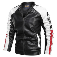 NEGIZBER 2019 Fashion Clothes Mens Leather Jacket Casual Patchwork Leather Jacket Stand Collar Zipper Leather Jacket Men