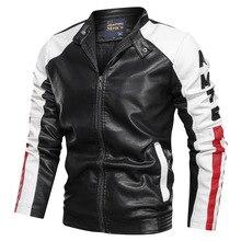Negizber 2019 roupas de moda jaqueta de couro masculina casual retalhos jaqueta de couro gola com zíper jaqueta de couro