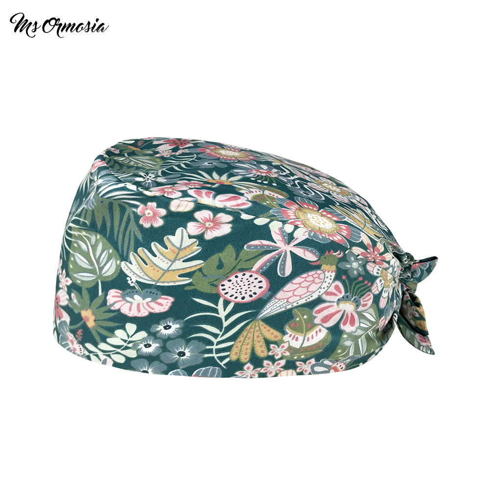 Summer essential Breathable print Peacock in flower work Scrub cap Pet store beauty salon work Dust-proof cleaning Scrub hat
