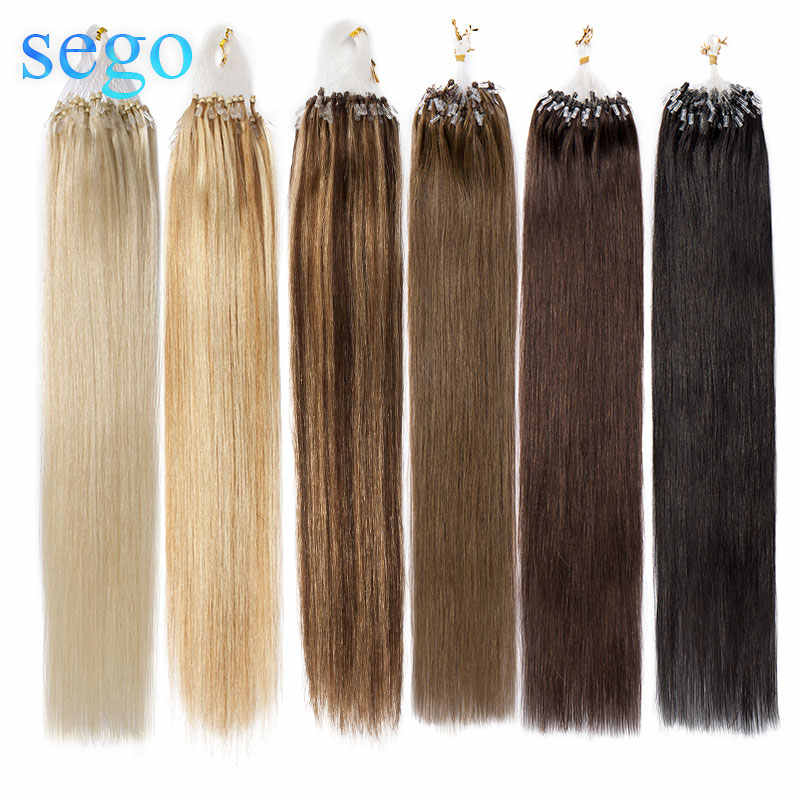 "SEGO 16"" 18'' 20'' 22''24"" Straight Micro Bead Hair Extensions Non-Remy Micro Loop Ring 100% Human Hair 0.5G/S 100PCS"