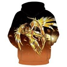 Gold Saint Seiya Hoodies Men Women Tracksuit 3D Print Cartoon Character Sweatshirt Fashion Hoodie Casual Streetwear Tops S527