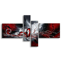 oil paintings on canvas red black white home decoration Modern abstract Oil Painting wall XD4 019 No Frame