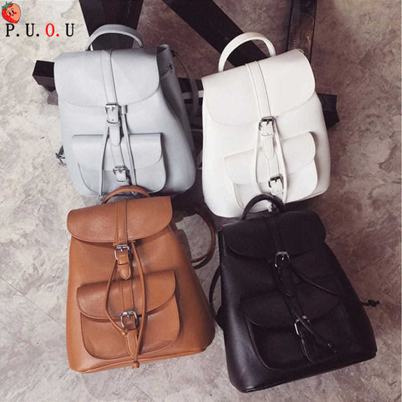 New Female Travel Leather Backpack Women Laptop Bag Waterproof School Bags For Teenage Girls Vintage Casual Backpacks Woman 2019