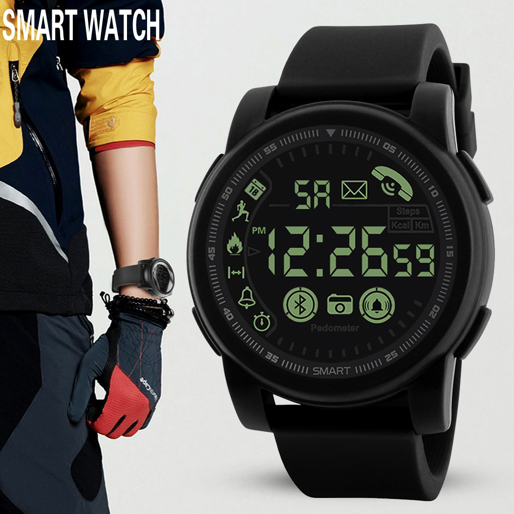 Mens Digital Watches Fitness Free Shipping Smart Electronic Watch Bluetooth Movement Phone SMS Reminder Pedometer Chronograph