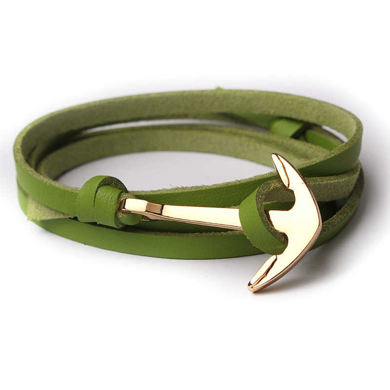 トレンディ合金アンカーブレスレット多層革ロープチェーン腕章のためのファッションレトロブレスレット女性男性ジュエリーギフト