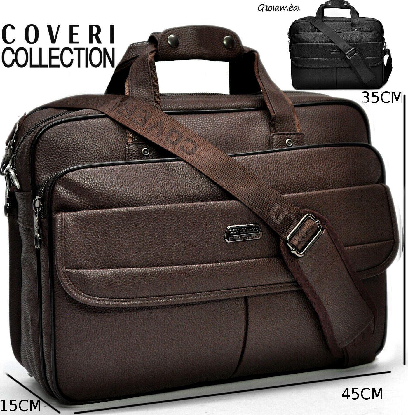 COVERI sac homme en cuir bureau sac à bandoulière pc dossier porte-document ipad original fabriqué en italie élégant