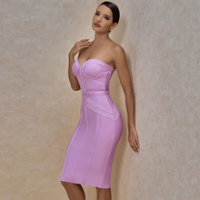 Ocstrade Lilac Strapless Bandage Dress 2020 Summer Knee Length Women Bandage Dress Bodycon Sexy Club Evening Party Dress