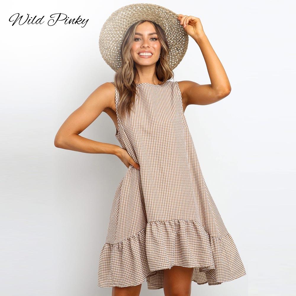 Купить женское пляжное платье в стиле бохо свободный сарафан клетку
