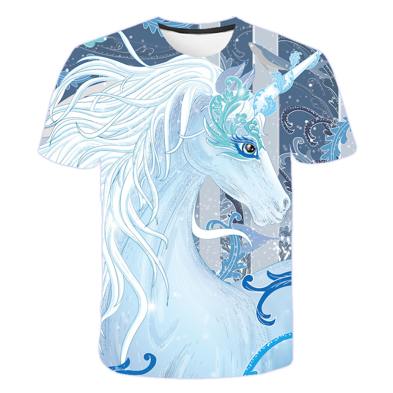 Baby Girls T-shirt 4 5 6 7 8 9 10 11 12 13 14 Years Unicorn Kids T Shirt Children Clothes Summer Unicorn T shirts Girl Tops Tee 24