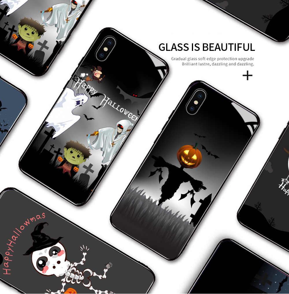Para oppo f7 f11 pro encontrar x a9 a9x à prova de choque dos desenhos animados festa de halloween gótico caso telefone abóbora bruxa bat capa de vidro
