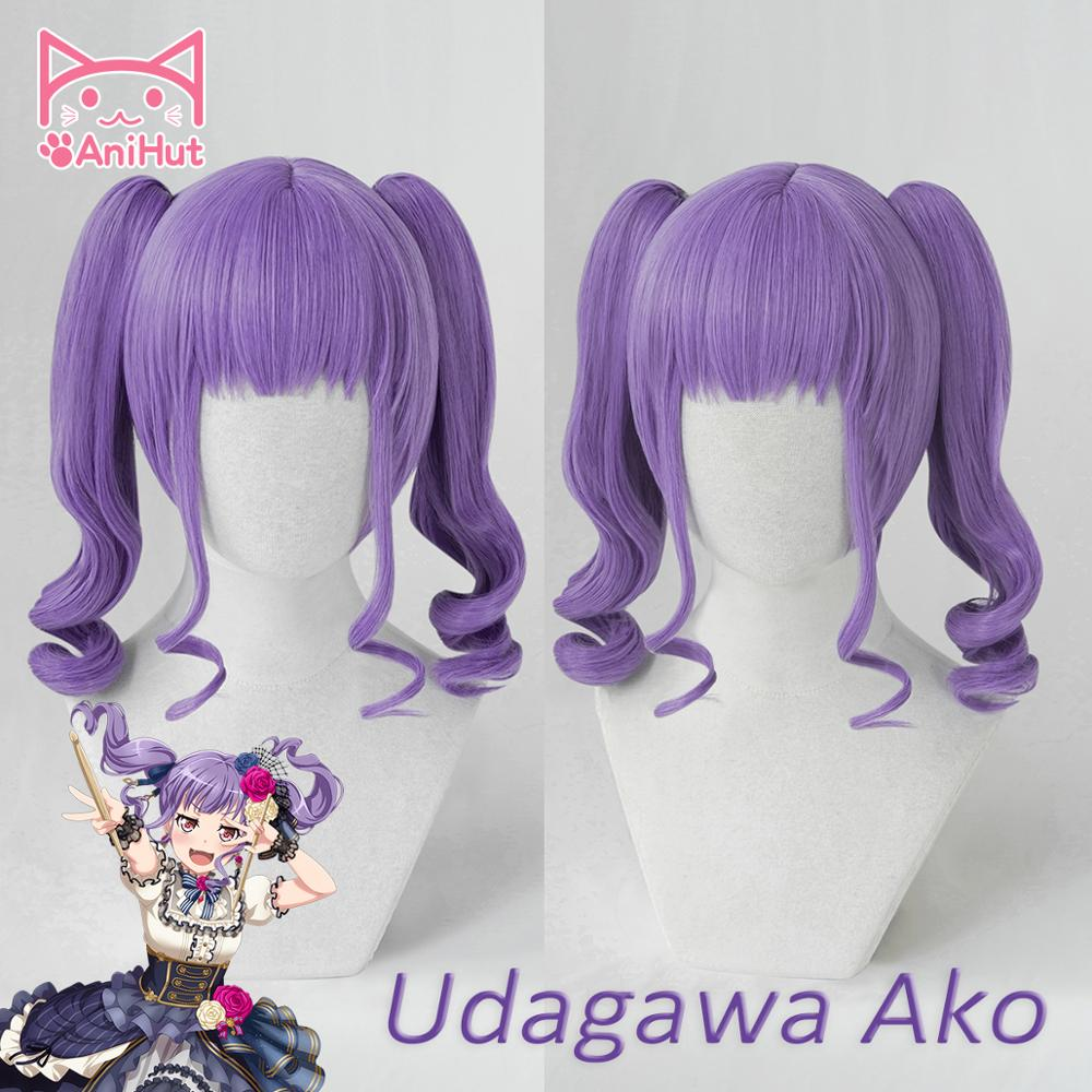 【AniHut】Udagawa Aka Wig Game BanG Dream! Cosplay Wig Synthetic Purple Women Hair Anime BanG Dream Cosplay Udagawa Aka Costume
