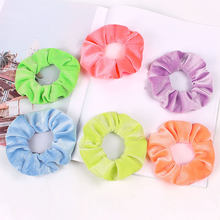 1PC Neon Scrunchies Elastic Hair Ties Colorful Ponytail Holder Bright Hair Ring Rope Velvet Scrunchie For Women Hair Accessories(China)