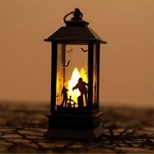 Halloween Decoration Props Led Candles Light Vintage Castle Bats Pumpkin Lantern Flame Lamp Scary Party Supplies