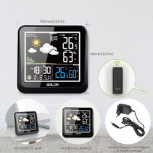Baldr Color Weather Station Digital Thermometer Hygrometer Wireless Sensor Forecast Temperature Watch Wall Moon Phase Clock