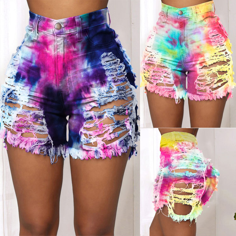 New Arrival Women Summer Ripped Shorts Jeans Fashion Trendy Tie Dye Denim Shorts Street Hipster Shorts Plus Size Clothing S-4XL 5