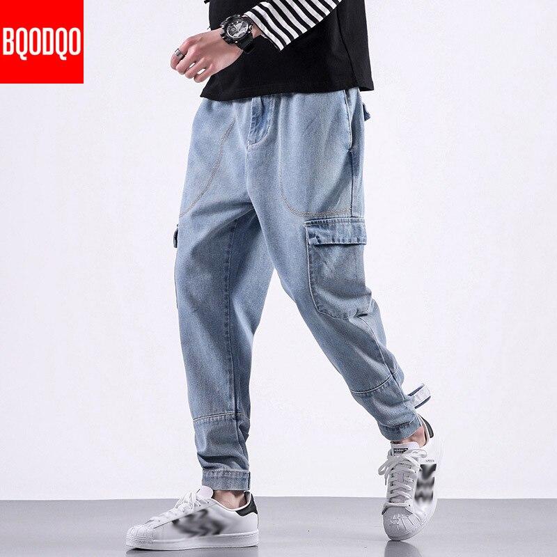 BQODQO Fashion Jeans For Men Casual Pants Men's Hip Hop Streetwear Stylish Trouser Comfortable Joggers Japanese Harem Pants Male