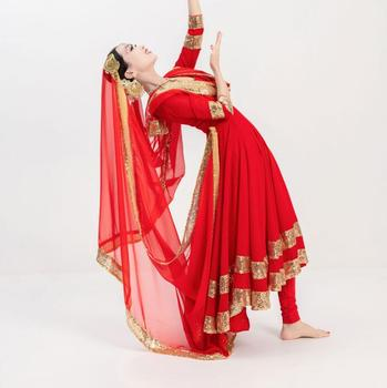 10 Colors Dancing Performance Dress Ethnic Style Katak Salwar Kameez Sets Dress+Pants+Veil