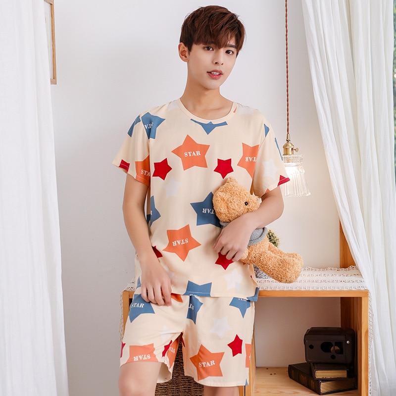 Young Lovers Pajamas Women Short-sleeved Summer Pyjama Loose Men Thin Style Couple Pijama Set Sleepwear Top+ Pants