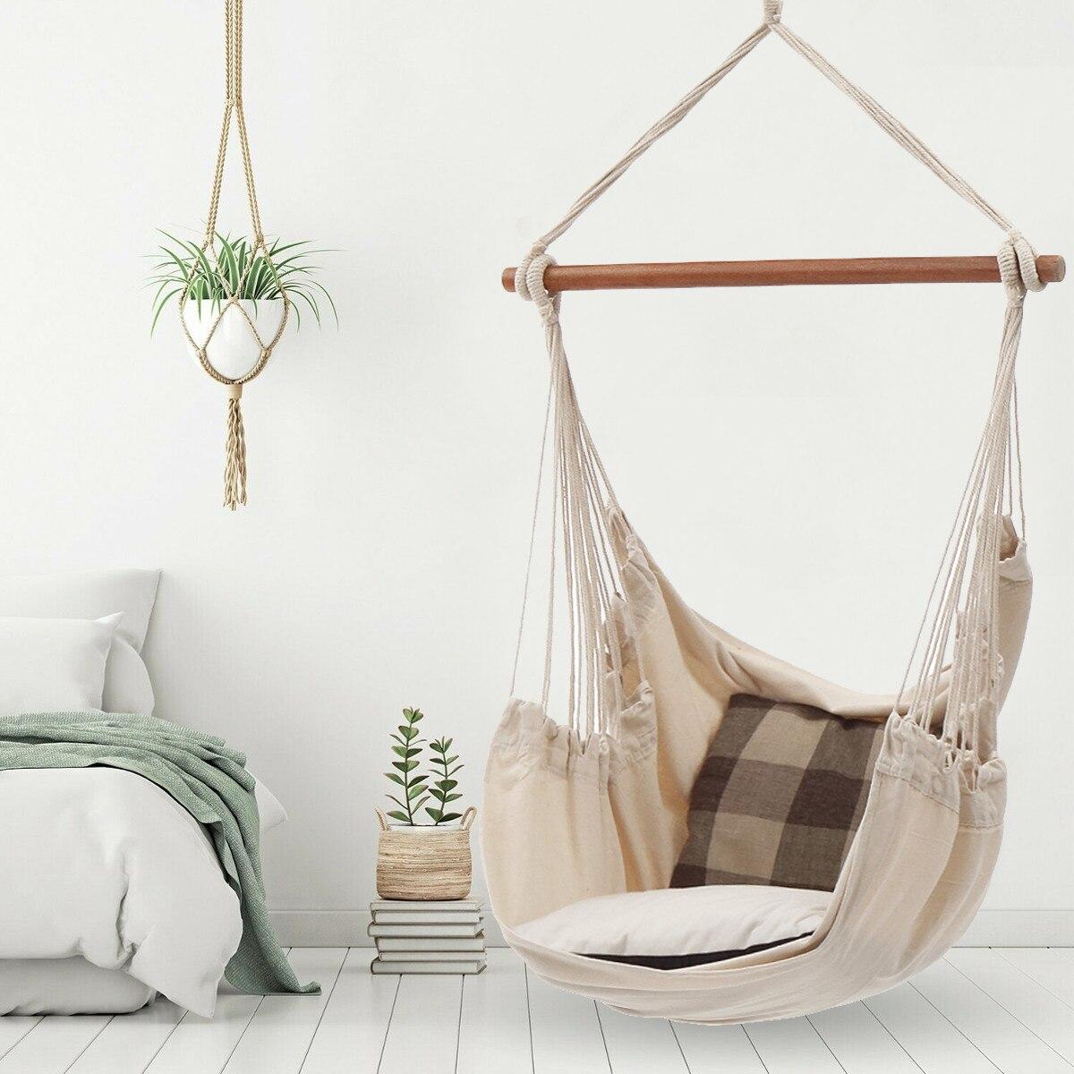 Nordic Stil Weiß Hängematte Outdoor Indoor Garten Schlafsaal Schlafzimmer Hängen Stuhl Für Kind Erwachsene Schwingen Einzel Sicherheit Hängematte