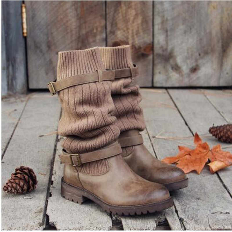 Women's Boots Autumn Winter Knitting Wool Ladies Shoes  High Boots For Women Long Boot  Fashion Women  Solid Low Heel Shoes