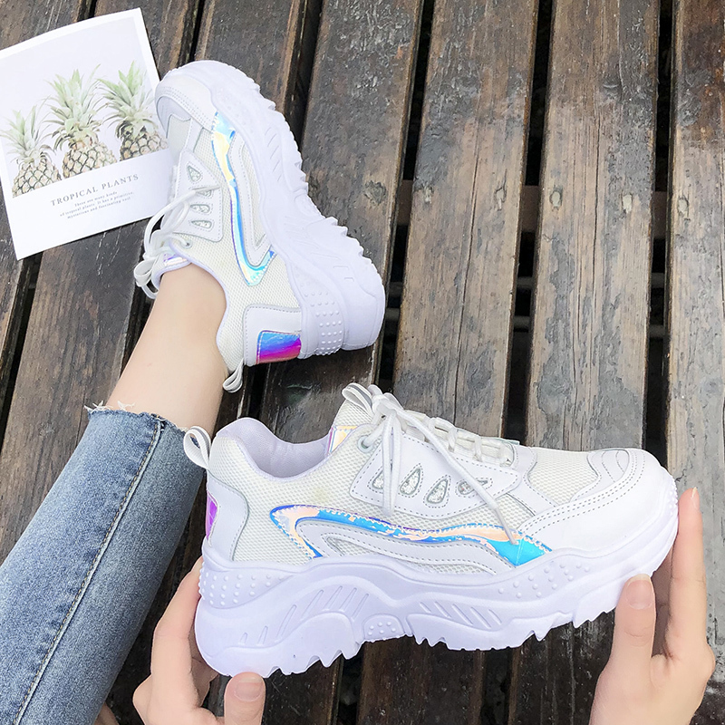 Women's Vulcanize Shoes 2020 Spring Summer Breathable Mesh Casual Sneakers For Woman Leather Shoes Female White Sneaker