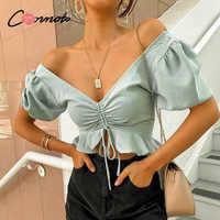 Conmoto sexy strand chiffon crop tops frauen bluse shirts lace up rüschen puff blusen feminino puff lässig blusas mujer