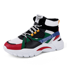 лучшая цена Male Autumn Winter High-top Sneakers Men Mesh Breathable Stitching Running Shoes Men Fashion Hard-Wearing Casual Sports Shoes