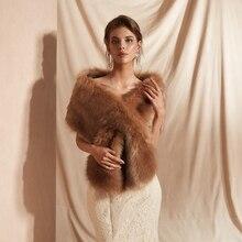 2019 nupcial superior bolero lenço de casamento feminino roubou capas marrons festa shrug pele falso xale casaco formal capa alta qualidade