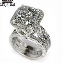 Anillos de Compromiso de Plata de Ley 925 con corte de anillo de compromiso de 2 CT AAAAA zirconia Cz anillos de Compromiso de boda para mujeres y hombres