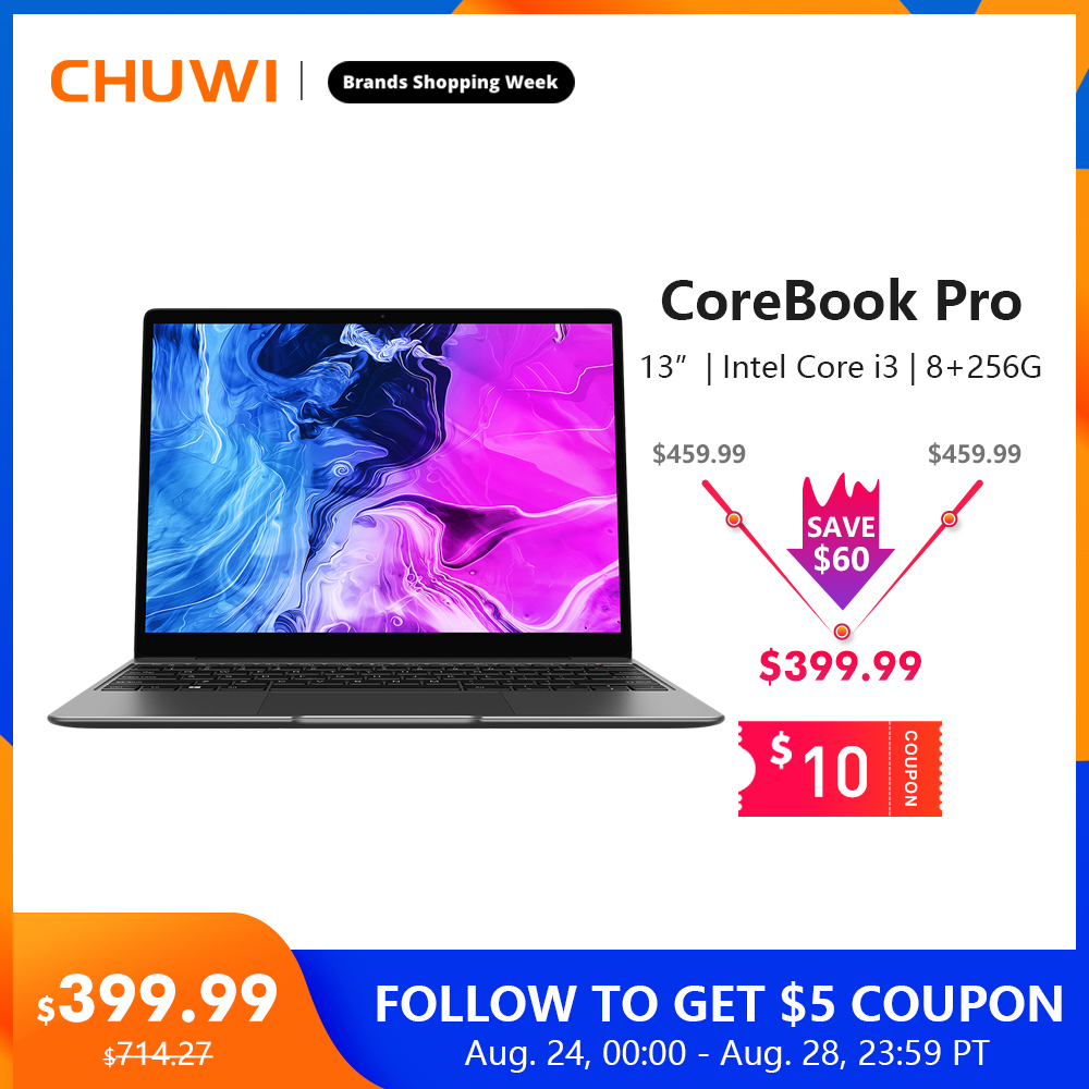 "CHUWI CoreBook Pro Intel Core i3 Laptops 13"" 2160*1440 IPS Screen 8GB RAM 256GB SSD NoteBook with Backlit Keyboard 2.4G/5G Wifi