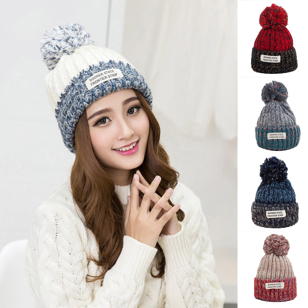 Ladies Winter Hat  Woman Cute Hat Keep Warm Hairball Hat Women Thick Women Hat Girls Caps Knitted Beanies Cap Y723