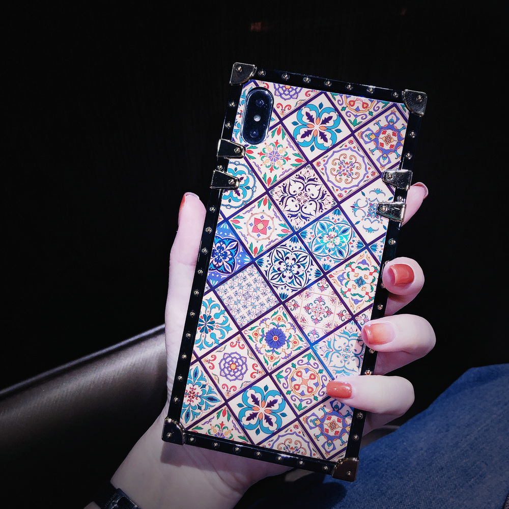 Cover For iPhone 11 Pro Max Case Square Blue Ray Chinese Diamond Ring Stand Girly Coque For iPhone X XR XS Max 6s 7 8 Plus Case (6)