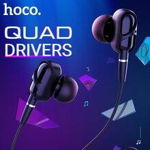 Hoco quad נהג wired אוזניות עם מיקרופון הפחתת רעש 3.5 שקע אוזניות 1.2m TPE צמת אחד כפתור מרחוק בזווית אוזניות