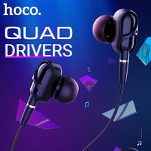 hoco quad driver wired earphones with mic noise reduction 3.5 jack headset 1.2m TPE braid one button remote angled earbuds