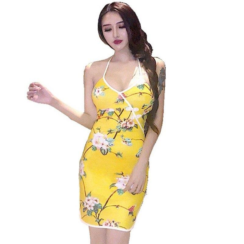 Women Fashion Vintage Floral Dress Summer Sexy Ladies Halter Mini Dress Slim Party Cheongsam Dresses Vestido thumbnail
